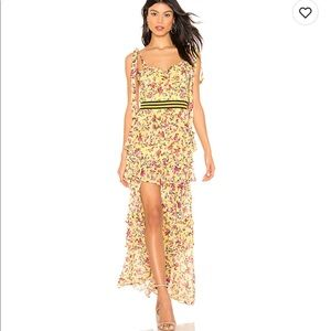 For Love & Lemons Yellow Floral Maxi Dress